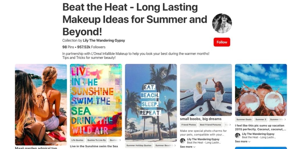 Pinterest beauty influencer curated a brand board in partnership with L'Oreal