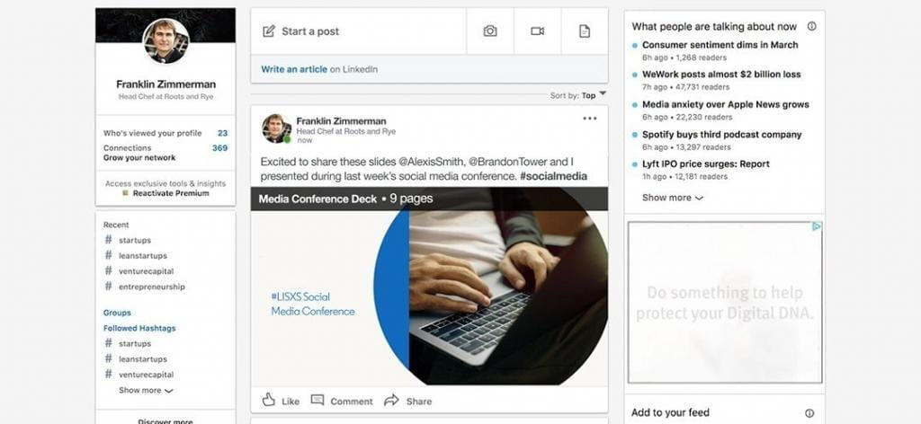 Using LinkedIn to post documents and presentations is great for B2B marketing.