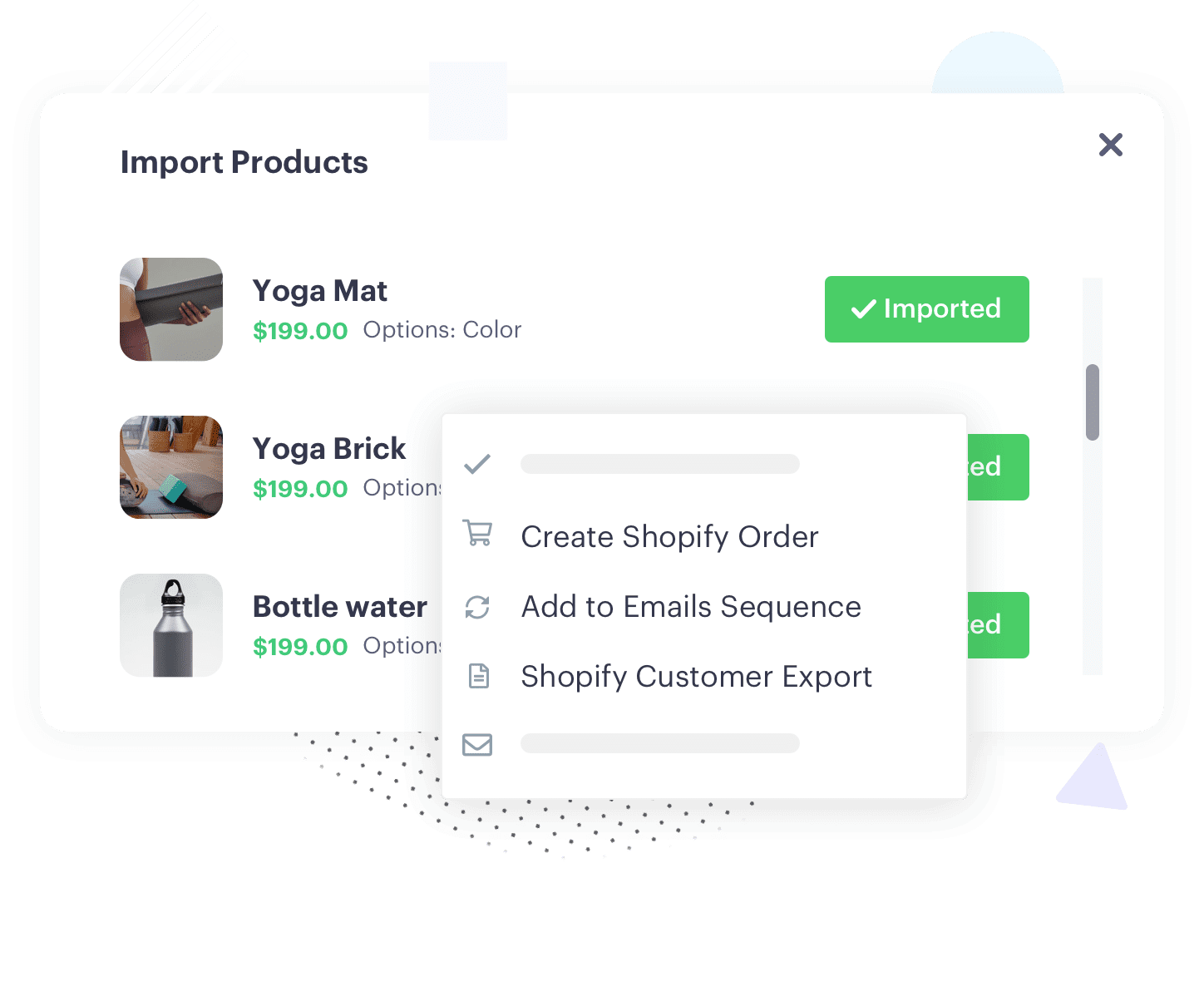influencer software import product from shopify